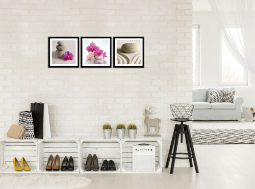 SET 3 teilig Wandbild Leinwandbild Orchidee SPA Sand Blumen Natur 3FX11273S13