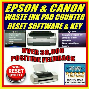 Details about EPSON & CANON PRINTER WASTE INK PAD COUNTER RESET + KEY  DOWNLOAD MOST MODELS NEW