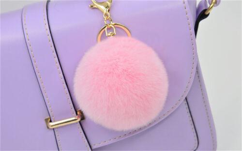 Rabbit Fur Ball PomPom Cell Phone Car Keychain Pendant Handbag Cute Key Ring E/&F