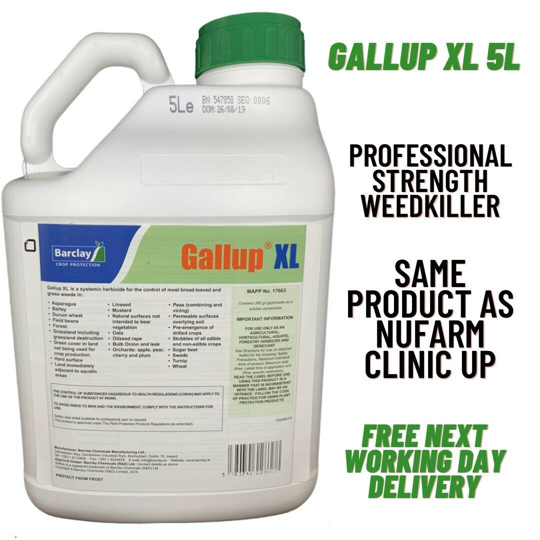 GALLUP XL 5L INDUSTRIAL STRENGTH WEEDKILLER - SAME ACTIVE AS CLINIC UP 5L