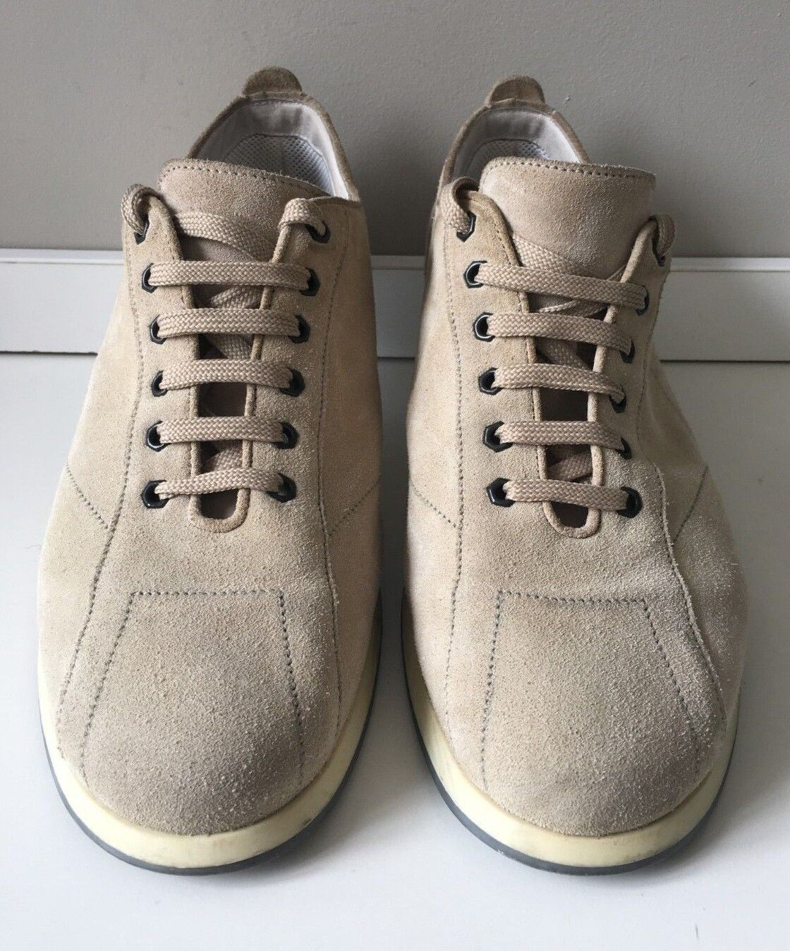 ZEGNA Sport Beige Suede Leather Sneakers - Mens Size 12 - Made in