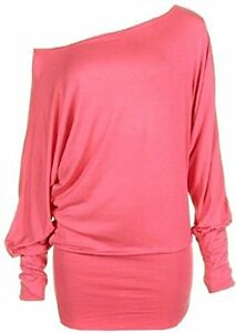 Womens-Long-Sleeve-Off-Shoulder-Batwing-Tunic-Top
