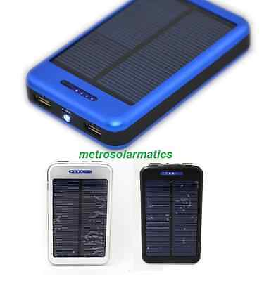 DUAL USB SOLAR BATTERY CHARGER POWER BANK FOR IPHONE MOBILE DEVICES 6000MAH