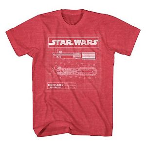 Star-Wars-Lightsaber-Schematics-Red-Heather-Men-039-s-T-Shirt-New