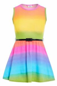 RAINBOW SKATER SLEEVELESS PARTY FIT FLARE BELTED SUMMER DRESS AGES 5-13 YEARS