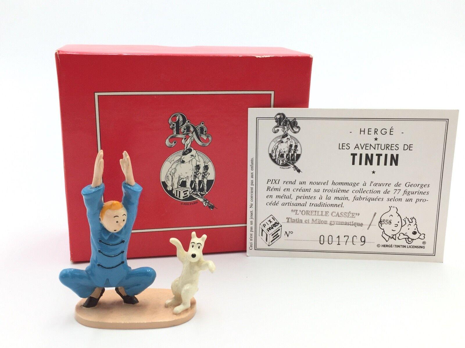 Figurine Tintin et milou gymnastique l'oreille cassée  Pixi  boite + certificat