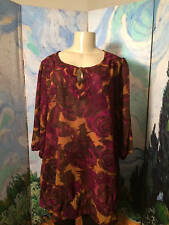 JUST MY SIZE PLUS 2X PURPLE FLORAL KEYHOLE NECK RUFFLE HEM 3/4 SLEEVE TUNIC TOP
