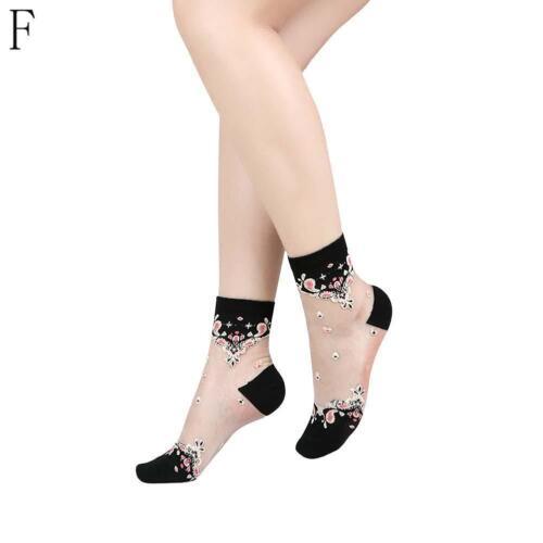 Frauen-transparente dünne Rosen-Blumen-Spitze-Socken-Kristallglas-Silk Socken
