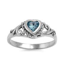 .925 Sterling Silver Ring size 2 CZ Heart Baby Kids Aquamarine Midi Ladies New