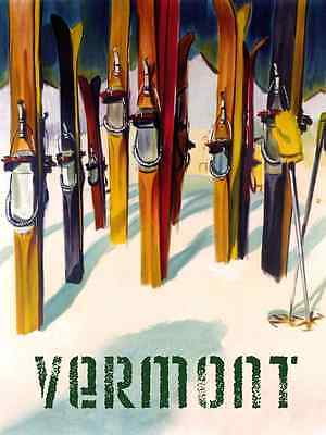 Vermont New England Ski Winter Sport Trail Fine Vintage Poster Repro FREE S/H