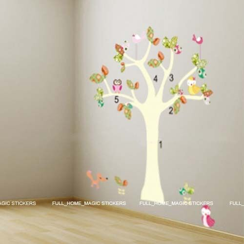Colourful Animal Tree Wall Stickers Nursery//Girls//Kids Room Art Decals Owl Fox