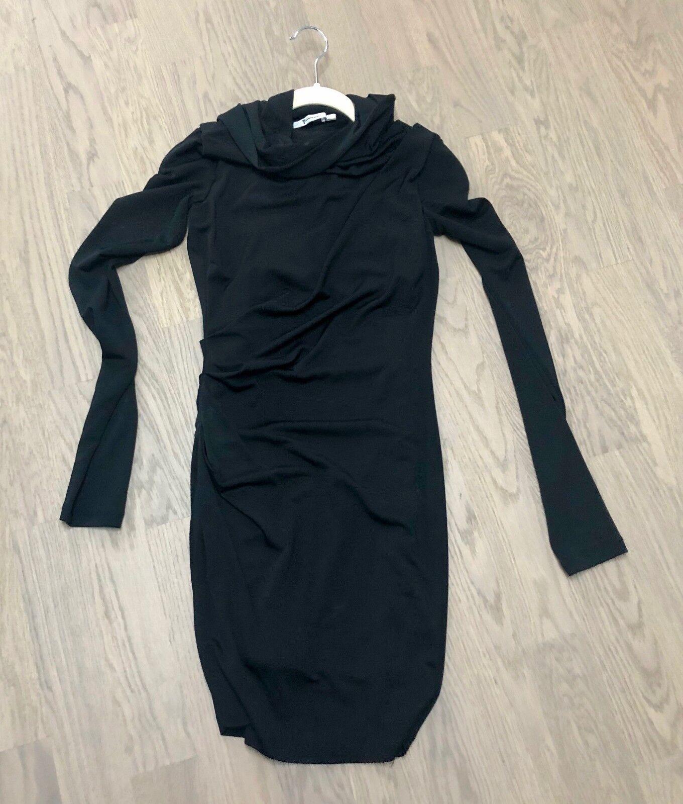 T by ALEXANDER WANG kurzes schwarzes Kleid, mit Kapuze, Gr. XS