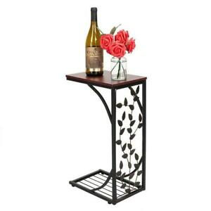 1/2PCS C Small Sofa End Table Narrow Snack Table Stand Leaf/Rectangle Pattern