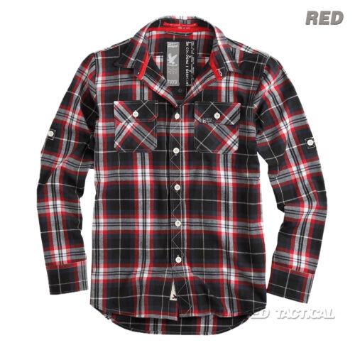 Surplus Lumberjack uomo Casual O Lavoro Manica Lunga controllato Camicia Cotone Spazzolato
