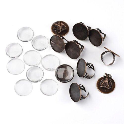 À faire soi-même Jewelry Kit Plat Rond Pendentifs Verre Cabochon Pour Collier Bijoux Making