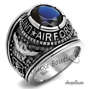 Men-039-s-Stainless-Steel-Simulated-Sapphire-US-Air-Force-Military-Ring-Size-8-14