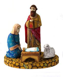 Bois-sculpte-Fait-Main-Creche-en-bois-Decoration-de-Noel-Artisanat-Russe