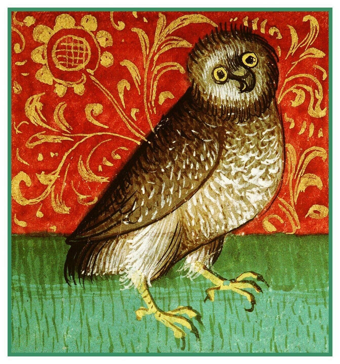 Folk Art 2 Birds in Reds by William Morris Counted Cross Stitch Pattern