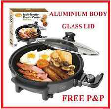 Electric Nonstick Pan Cooker Server Frying Aluminium Skillet Glass Pancake Pizza
