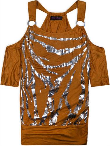 Ladies New Cold Shoulder Strap Foil Print Top Women Batwing Lose Blouse UK S M L