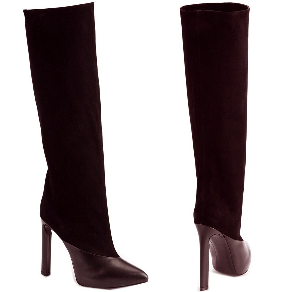 NIB NIB NIB  1,895 Jimmy Choo DERIVE Dark Ebony marrón Suede Tall Knee bota Heel 38 - 7.5  protección post-venta