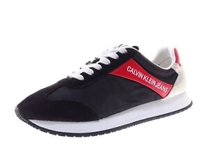 Calvin Klein Jeans Damen Sneaker Laufschuhe Freizeitschuhe Gr 38 Schwarz Leder