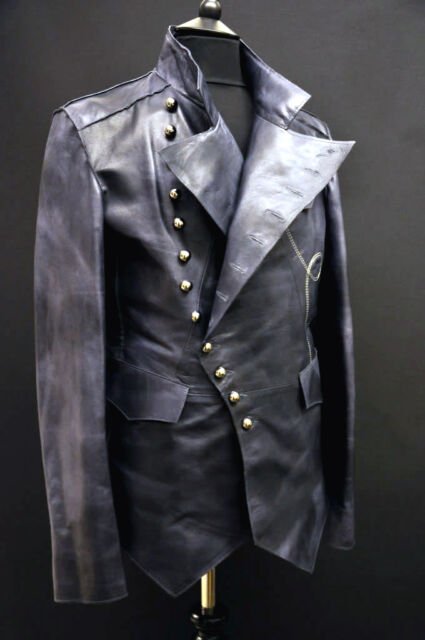 Leather Steampunk Vintage Rock Military Mens Jacket Unique Distressed Impero