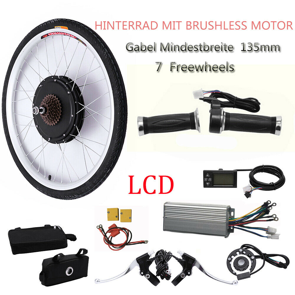26 48V 1KW LCD EBike Conversion Kit Electric Bicycle Motor Hub Rear Wheel New
