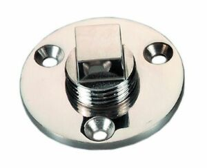 "Boat Marine Stainless Steel Garboard Drain Plug Kit 1/"" Hole 2/"" OD"
