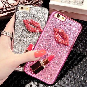 8bc7261adf47 Details about Girl s Luxury Cute Sparkle Glitter Bling Diamond Kiss  Lipstick Phone Case Cover