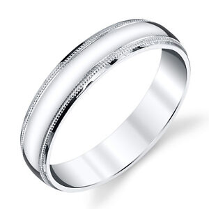 925 Sterling Silver Mens Wedding Band Ring 5mm Classic Plain