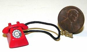 Dollhouse Miniature Telephone Red Vintage Type 1:12 Scale