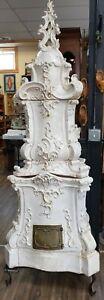 Antique-Italian-Ceramic-Delft-Terracotta-Parlor-Stove-White-Porcelain-Handcraft
