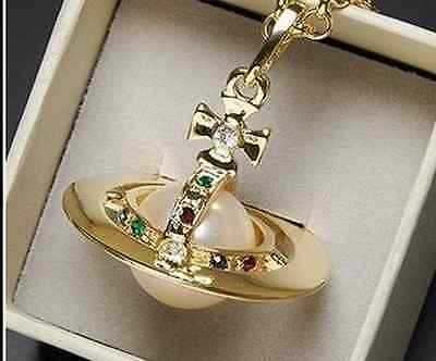 Vivienne Westwood orb Gold color large stereoscopic pearl Saturn necklace Box+Ba