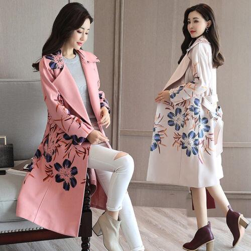in a Trench con manica lana floreale esterno cintura bavero coat esterno per lunga Q Parka C1wq5rTnC