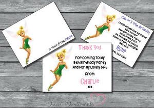 Details About Tinkerbell Personalised Birthday Party Invite Invitation Or Thank You Card Note
