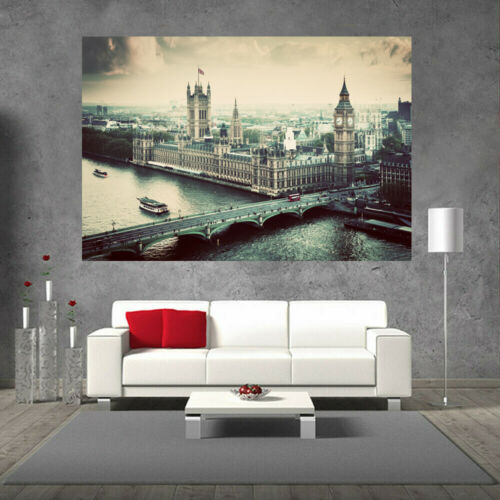 Huge Large Big Poster Canvas Wall  Art Print Home Decor London City Big Ben