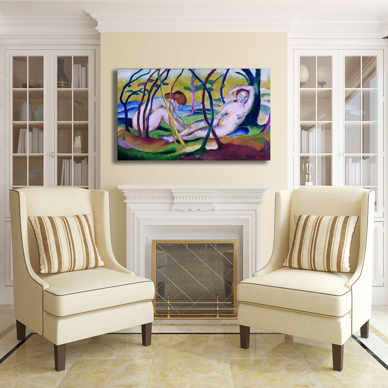 Franz Marc nudi sotto gli alberi quadro stampa tela tela tela dipinto telaio arRouge o casa aecaf9