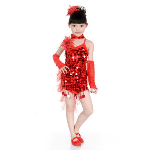 Children Girls Sequin Latin Dance Dress Ballroom Costume Competition Dancewear