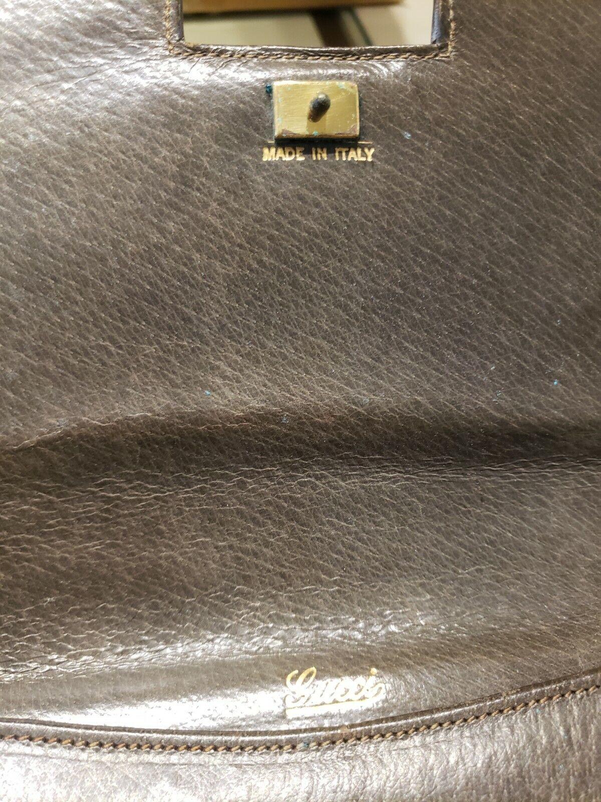 Vintage GUCCI Classic Brown Kelly Purse Handbag T… - image 5