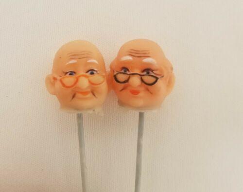 Pair of Miniature Vinyl Grandma /& Grandpa Old Man Woman Doll Heads on Wire Pick
