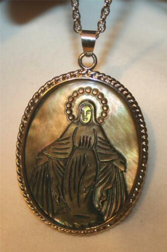 Gorgeous Etched Mother of Pearl Abalone Natural Shell Immaculate Mary Necklace