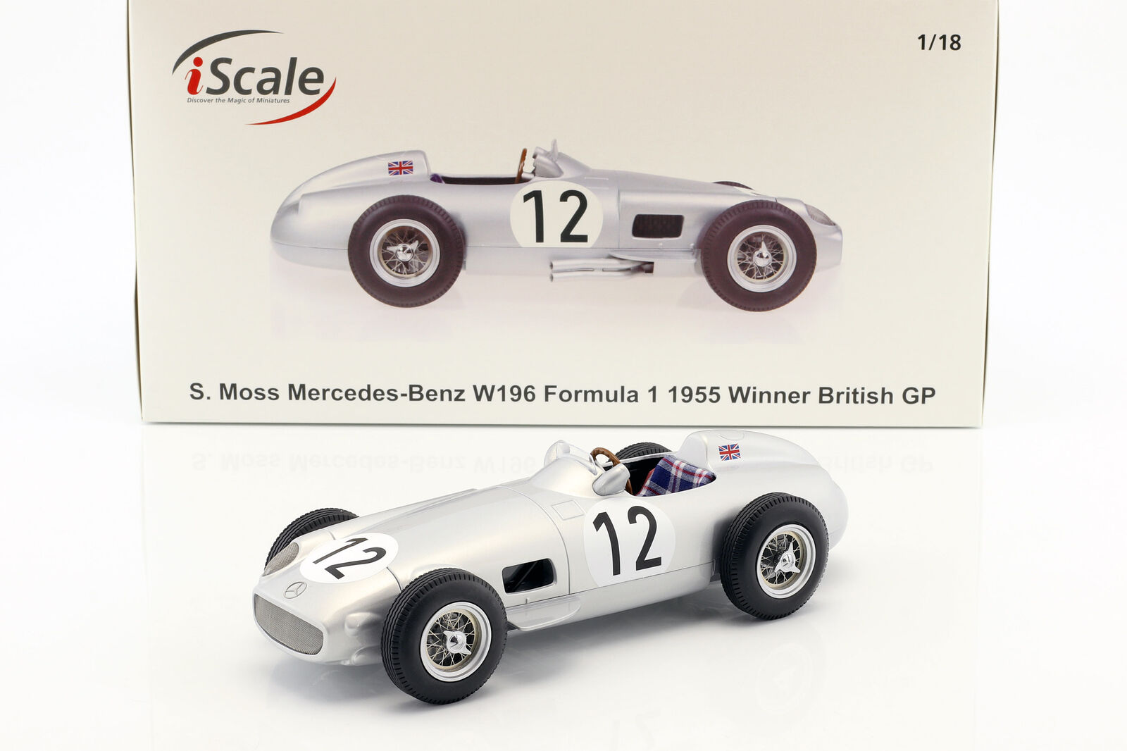 Stirling Moss Mercedes-Benz w196 Winner British GP Formula 1 1955 1 18 iScale