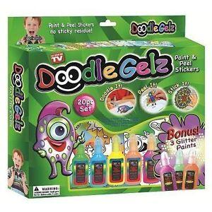 20pc Doodle Gelz Paint and Peel Stickers Kids Craft Color Paints Decoration Set