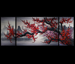 Image Is Loading Chinese Cherry Blossom Painting Wall Art Framed Art