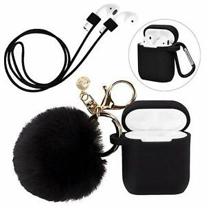 new arrival cbb6a 81530 Details about Silicone Case Cover with Cute Pompom Ball Keychain Compatible  for Apple AirPods