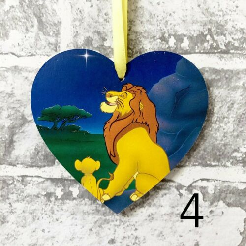 Disney Lion King Handmade Wooden Heart Plaque Decoration Gift Simba Nala Scar