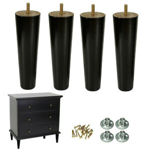 Wood-Furniture-Legs-8-inch-Couch-Legs-Set-of-4-Mid-century-Black-Replacement