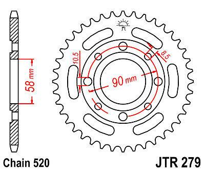 520 Teilung Honda VT 125 C Shadow 80 km//h JC29 1999 Stahl Kettenrad 39 Zähne