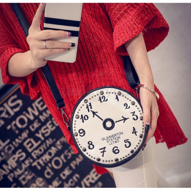 Women Lady Leather Shoulder Bag Clocks Pattern Crossbody Messenger Satchel Purse